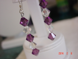 Amethyst & Clear Iridescent Swarovski Crystal Dangle Earrings - Free Shipping image 3