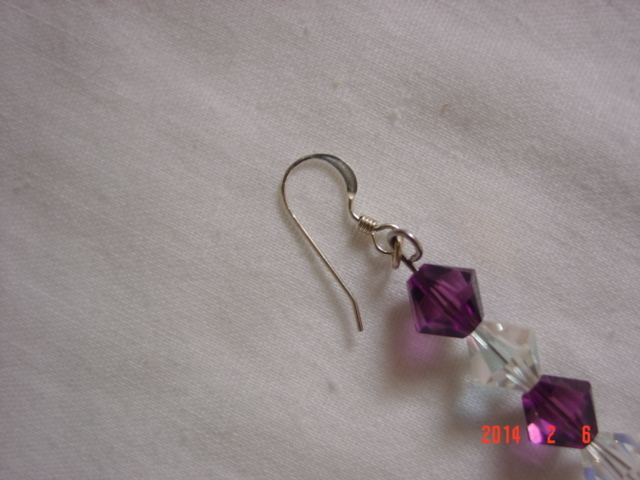 Amethyst & Clear Iridescent Swarovski Crystal Dangle Earrings - Free Shipping image 4