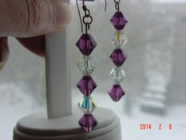 Amethyst & Clear Iridescent Swarovski Crystal Dangle Earrings - Free Shipping image 2