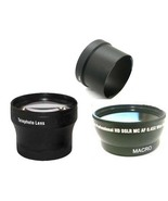 Wide + Tele Lens + Tube Adapter bundle for Canon Powershot S2IS S3IS S5IS - $48.50