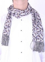 OS NWT Boutique Mens Fashionable Geometric Pattern Purple Silk Fringe Scarf - £38.31 GBP
