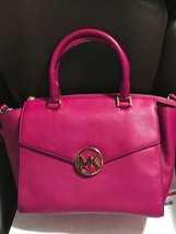 Michael Kors Hudson Women's Fuchsia genuine leather Large Satchel bag pu... - $287.09