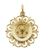 14K Yellow Gold Framed First Holy Communion Pendant - $185.99