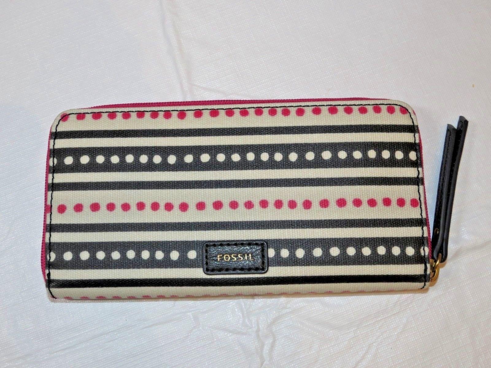Fossil SWL2034339 Eliza Clutch Pink Dots Off white pink black clutch wallet *^
