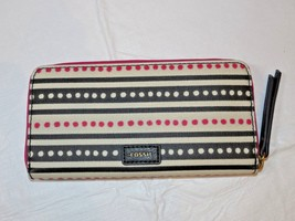Fossil SWL2034339 Eliza Clutch Pink Dots Off white pink black clutch wal... - $38.11