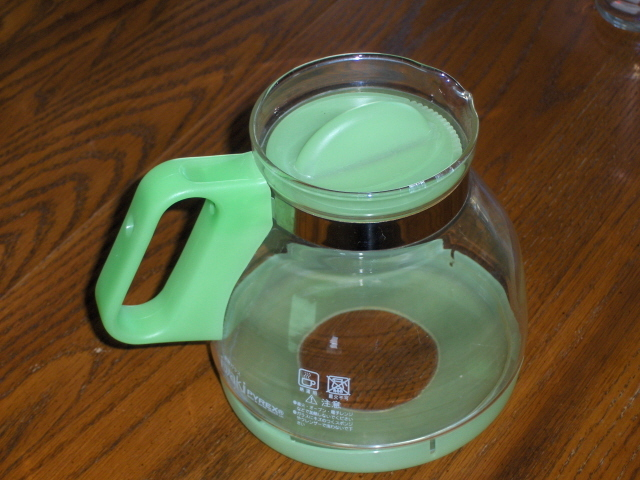iwaki Pyrex Coffee or Tea Carafe Pot Green and Clear Large 1000 Japan