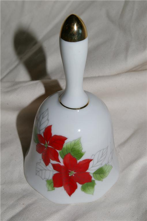Christmas Poinsettia Porcelain Bell
