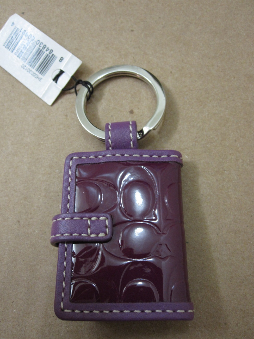 Coach Purple Plum patent leather Signature Photo Book Keychain 92348 embossed