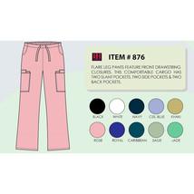 Women's Flare Leg Scrub Cargo Pants DSF Medical Uniform 876, Size 2XL - $11.99
