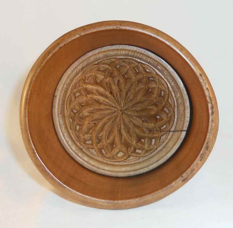 Vintage Primitive Large Size Plunger Type Butter Mold Beautiful Stylized Flower