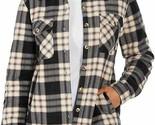 NWT!!! Soho Threads Women's Sherpa-Lined Shirt Jacket, Large, Black-Wood Rose