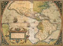 Abraham Ortelius 1573 Map of America Vintage History Wall Decor Art Print Poster - $12.38