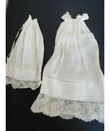 Antique White Baby Gown Dress & Matching Slip for Small Baby Doll - $45.99