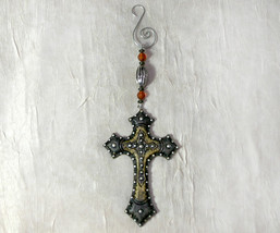 Cross Ornament with Silver and Amber Beads - $8.98