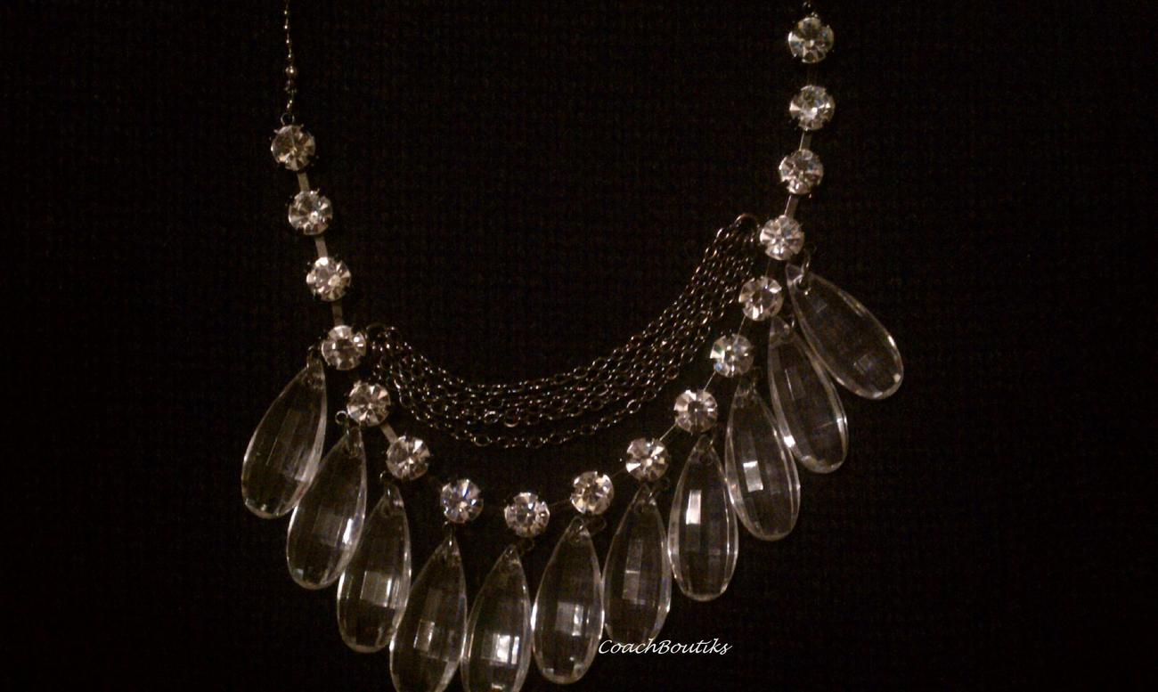 GUESS Clear Lucite Teardrop Necklace w/ Rhinestones NWT