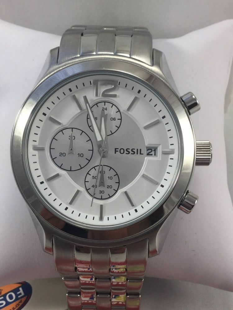 Primary image for BRAND NEW FOSSIL BQ2034 WHITE DIAL SILVER TONE CHRONOGRAPH MEN'S WATCH