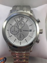 BRAND NEW FOSSIL BQ2034 WHITE DIAL SILVER TONE CHRONOGRAPH MEN'S WATCH - $79.19