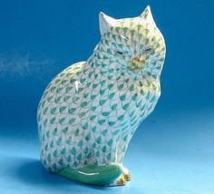 Herend Hungary Green Fishnet Cat Sitting Porcelain Hand-Painted Figurine... - $163.63
