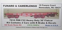 Funaro F&C HO PRR F22 Heavy Duty 30' flatcar ,K brake 2 cars per Kit 7010 image 1