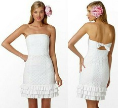 Lilly Pulitzer Franco Lace White Petal Pusher Ruffle Tie Back Strapless ... - $130.50
