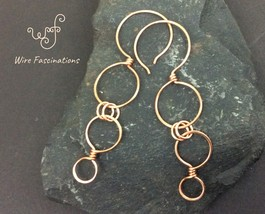 Handmade copper earrings: long cascading linked circles with hoop ear wires - $29.00