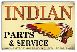 Indian Motorcycle Parts And Service Vintage Metal Sign 12x18 - $25.74