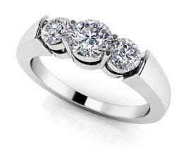 14K White Gold Fn 0.30 Ct Round Cut Sim Triple Diamond Anniversary Band ... - $108.99