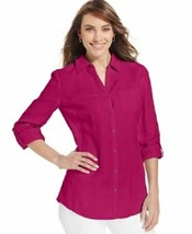NEW JM Collection Bright Pink 100% Linen Button Front Blouse L - $13.71