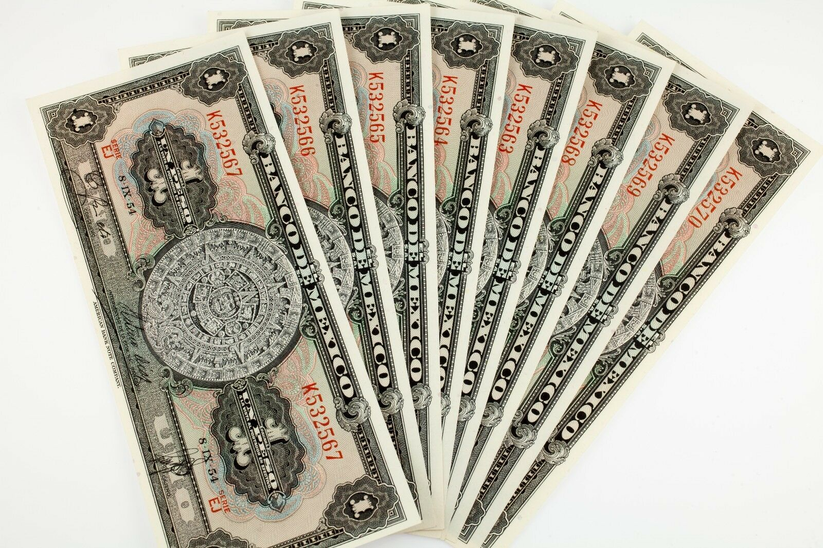 Lote de 8 1954 México 1 Peso Notas (Sequentially Numerada) UNC Estado P# 56b
