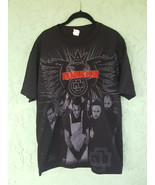 Rammstein Black T Shirt Size Large Red Embroidery - Industrial Music Ban... - $49.95