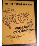 Vintage Sheet Music ALL THE THINGS YOU ARE VERY WARM FOR MAY Kern & Hamm... - $9.90