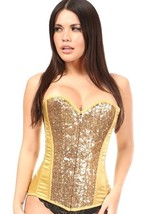 Gold Satin and Sequin Corset Top ~ Small to 6X - $99.99