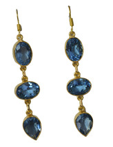 elegant Blue Topaz CZ Gold Plated Blue Earring genuine jewelry US gift - $14.84