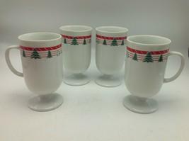 Vintage 1980s Christmas Tree Pedestal Mug Set Of 4  Hand Decorated Porce... - $14.03
