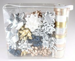 Wondershop Gold Silver White 264 Ft Ribbon 33 Bows Gift Wrapping Kit Set NEW image 3