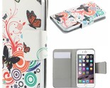 Universal Suction Cup Leather Case for iPhone SE 5s 5 etc - Butterflies Circles