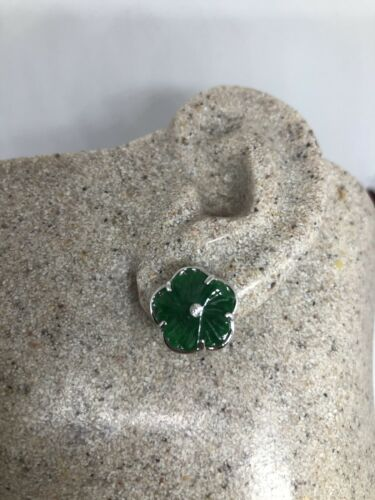 Primary image for Vintage Genuine Green Jade White Bronze Silver Stud Earrings