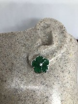 Vintage Genuine Green Jade White Bronze Silver Stud Earrings  - $27.72