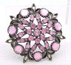 VTG Styled Silver Tone Pink Crystal Plastic Rhinestone Flower Pin Brooch - $19.80