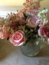 pink Silk Floral Arrangement Is Attached Within The Glass Of The Vase - $29.99