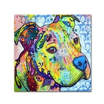 Thoughtful Pit Bull III Artwork by Dean Russo, 24 by 24-Inch Canvas Wall Art