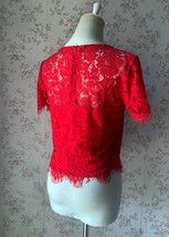 2021 Red Lace Crop Top Short Sleeve Plus Size Wedding Bridesmaid Red Crop Tops  image 5