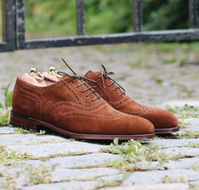 Handmade Men's Brown Suede Wing Tip Heart Medallion Lace Up Dress Oxford Shoes image 1