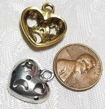 MOON AND STAR CUT OUT HEART FINE PEWTER PENDANT CHARM - 18mm x 18.5mm x 4.5mm image 3