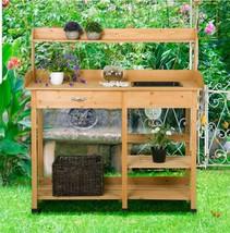 Potting Table Planter Bench Outdoor Indoor Workbench Station Garden Plan... - $139.00