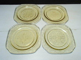 "4 Federal Madrid Depression Glass Amber Luncheon Plates ~ 7 1/2"" - $13.99"