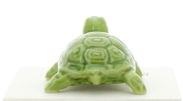 Hagen-Renaker Miniature Ceramic Turtle Figurine Coin Turtle Three Stripe Green image 4