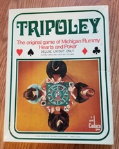 Tripoley Game Of Michigan Rummy Hearts & Poker Deluxe Layout Only 1969 Cadaco - $15.00