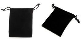 "50 Small BLACK GIFT Jewelry Drawstring Bags 2-1/2"" x 3"" Flocked Velvetee... - $14.15"