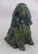 Zsolnay Eosin Cocker Spaniel Dog Figurine, Iridescent Dark Green, Hungary - $74.25